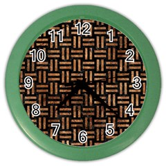 Woven1 Black Marble & Brown Stone Color Wall Clock by trendistuff