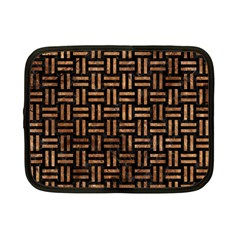 Woven1 Black Marble & Brown Stone Netbook Case (small) by trendistuff