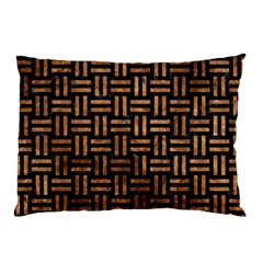 Woven1 Black Marble & Brown Stone Pillow Case by trendistuff