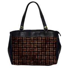Woven1 Black Marble & Brown Stone Oversize Office Handbag by trendistuff