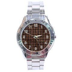 Woven1 Black Marble & Brown Stone Stainless Steel Analogue Watch by trendistuff