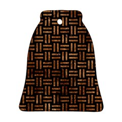 Woven1 Black Marble & Brown Stone Bell Ornament (two Sides) by trendistuff
