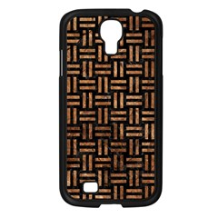 Woven1 Black Marble & Brown Stone Samsung Galaxy S4 I9500/ I9505 Case (black) by trendistuff