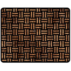 Woven1 Black Marble & Brown Stone Double Sided Fleece Blanket (medium) by trendistuff