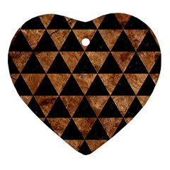 Triangle3 Black Marble & Brown Stone Ornament (heart) by trendistuff