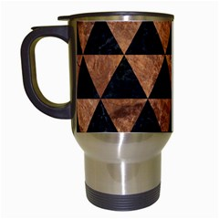 Triangle3 Black Marble & Brown Stone Travel Mug (white) by trendistuff