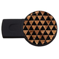Triangle3 Black Marble & Brown Stone Usb Flash Drive Round (4 Gb) by trendistuff