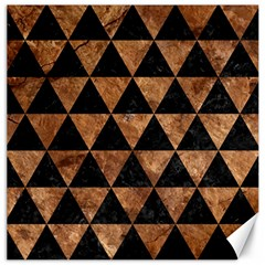 Triangle3 Black Marble & Brown Stone Canvas 16  X 16  by trendistuff