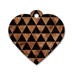 Triangle3 Black Marble & Brown Stone Dog Tag Heart (two Sides) by trendistuff
