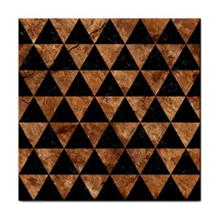 Triangle3 Black Marble & Brown Stone Face Towel by trendistuff