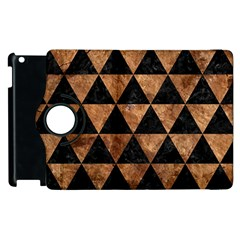 Triangle3 Black Marble & Brown Stone Apple Ipad 2 Flip 360 Case by trendistuff
