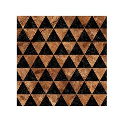 Triangle3 Black Marble & Brown Stone Small Satin Scarf (square) by trendistuff