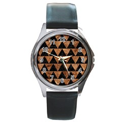 Triangle2 Black Marble & Brown Stone Round Metal Watch by trendistuff