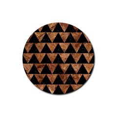 Triangle2 Black Marble & Brown Stone Rubber Coaster (round) by trendistuff