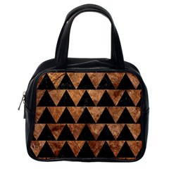 Triangle2 Black Marble & Brown Stone Classic Handbag (one Side) by trendistuff