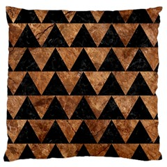 Triangle2 Black Marble & Brown Stone Large Cushion Case (one Side) by trendistuff