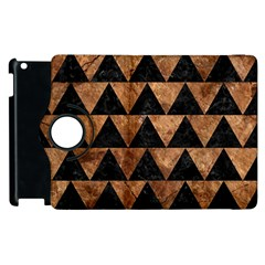 Triangle2 Black Marble & Brown Stone Apple Ipad 2 Flip 360 Case by trendistuff