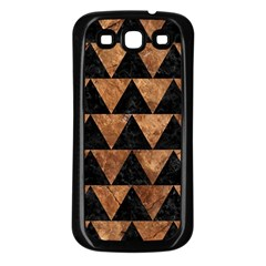 Triangle2 Black Marble & Brown Stone Samsung Galaxy S3 Back Case (black) by trendistuff