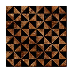 Triangle1 Black Marble & Brown Stone Tile Coaster by trendistuff