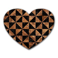 Triangle1 Black Marble & Brown Stone Heart Mousepad by trendistuff