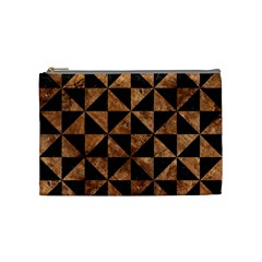Triangle1 Black Marble & Brown Stone Cosmetic Bag (medium) by trendistuff