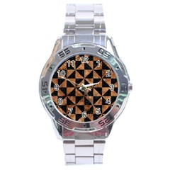 Triangle1 Black Marble & Brown Stone Stainless Steel Analogue Watch by trendistuff