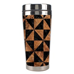 Triangle1 Black Marble & Brown Stone Stainless Steel Travel Tumbler by trendistuff