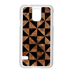 Triangle1 Black Marble & Brown Stone Samsung Galaxy S5 Case (white) by trendistuff