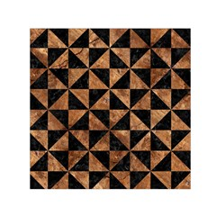 Triangle1 Black Marble & Brown Stone Small Satin Scarf (square) by trendistuff
