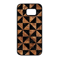 Triangle1 Black Marble & Brown Stone Samsung Galaxy S7 Edge Black Seamless Case by trendistuff