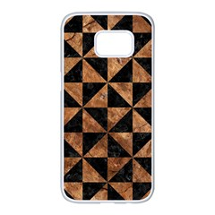 Triangle1 Black Marble & Brown Stone Samsung Galaxy S7 Edge White Seamless Case by trendistuff
