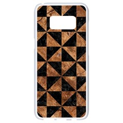 Triangle1 Black Marble & Brown Stone Samsung Galaxy S8 White Seamless Case by trendistuff