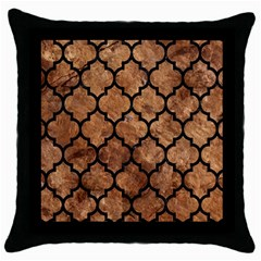 Tile1 Black Marble & Brown Stone (r) Throw Pillow Case (black) by trendistuff