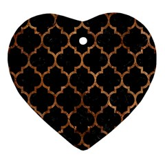 Tile1 Black Marble & Brown Stone Heart Ornament (two Sides) by trendistuff