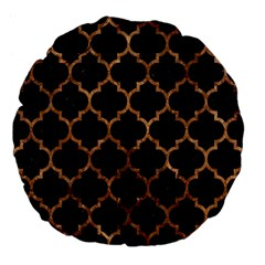 Tile1 Black Marble & Brown Stone Large 18  Premium Flano Round Cushion  by trendistuff