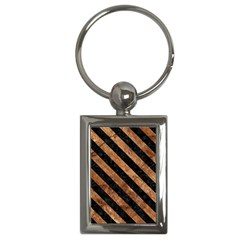 Stripes3 Black Marble & Brown Stone (r) Key Chain (rectangle) by trendistuff