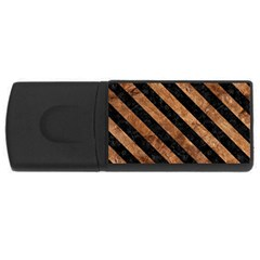 Stripes3 Black Marble & Brown Stone (r) Usb Flash Drive Rectangular (4 Gb) by trendistuff