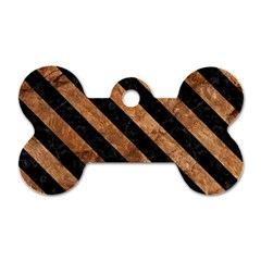 Stripes3 Black Marble & Brown Stone (r) Dog Tag Bone (two Sides) by trendistuff