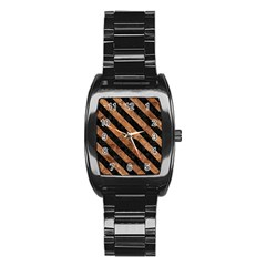 Stripes3 Black Marble & Brown Stone (r) Stainless Steel Barrel Watch by trendistuff