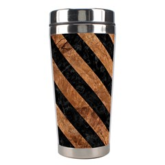 Stripes3 Black Marble & Brown Stone (r) Stainless Steel Travel Tumbler by trendistuff