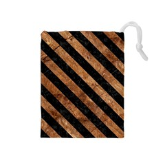 Stripes3 Black Marble & Brown Stone (r) Drawstring Pouch (medium) by trendistuff