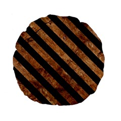 Stripes3 Black Marble & Brown Stone (r) Standard 15  Premium Flano Round Cushion  by trendistuff