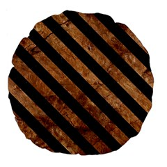 Stripes3 Black Marble & Brown Stone (r) Large 18  Premium Flano Round Cushion  by trendistuff