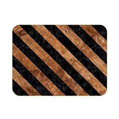Stripes3 Black Marble & Brown Stone (r) Double Sided Flano Blanket (mini)
