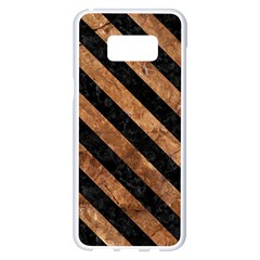 Stripes3 Black Marble & Brown Stone (r) Samsung Galaxy S8 Plus White Seamless Case by trendistuff