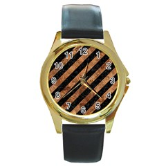 Stripes3 Black Marble & Brown Stone Round Gold Metal Watch by trendistuff