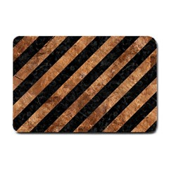 Stripes3 Black Marble & Brown Stone Small Doormat by trendistuff