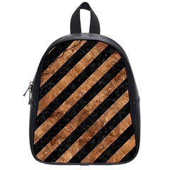 Stripes3 Black Marble & Brown Stone School Bag (small) by trendistuff