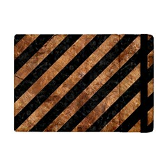 Stripes3 Black Marble & Brown Stone Apple Ipad Mini Flip Case by trendistuff