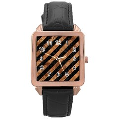 Stripes3 Black Marble & Brown Stone Rose Gold Leather Watch  by trendistuff